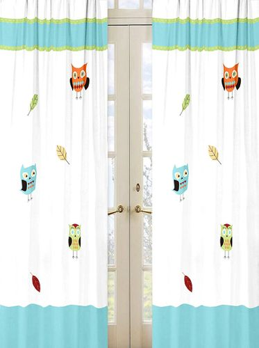 Turquoise and Lime Hooty Owl Window Treatment Panels by Sweet Jojo Designs - Set of 2 - Click to enlarge