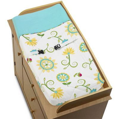Turquoise and Lime Layla Baby Changing Pad Cover by Sweet Jojo Designs - Click to enlarge