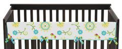 Turquoise and Lime Layla Baby Crib Long Rail Guard Cover by Sweet Jojo Designs