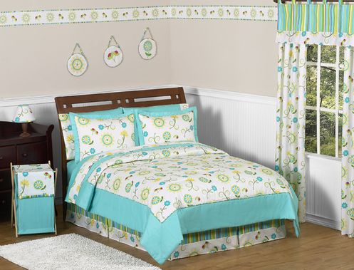 Turquoise and Lime Layla Girls Kids & Teen Bedding - 3pc Full / Queen Set - Click to enlarge