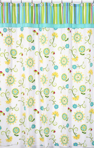Turquoise and Lime Layla Kids Bathroom Fabric Bath Shower Curtain - Click to enlarge