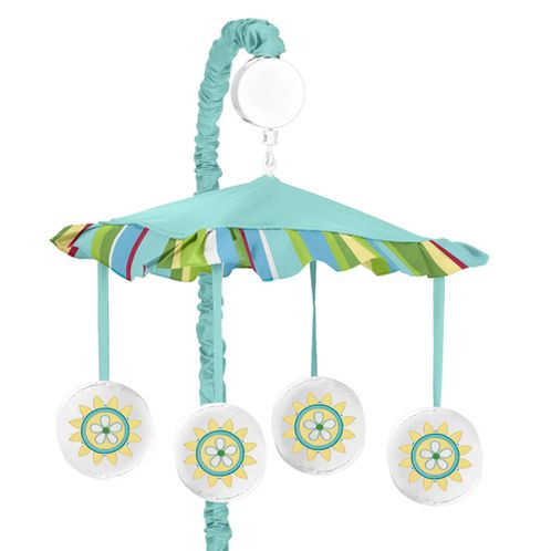 Turquoise and Lime Layla Musical Baby Crib Mobile by Sweet Jojo Designs - Click to enlarge