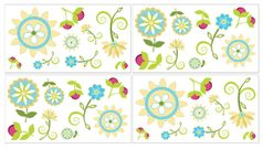 Turquoise and Lime Layla Peel and Stick Wall Decal Stickers Art Nursery Decor by Sweet Jojo Designs - Set of 4 Sheets
