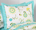 Turquoise and Lime Layla Pillow Sham by Sweet Jojo Designs