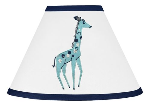 Turquoise and Navy Blue Giraffe Lamp Shade for Mod Jungle Collection by Sweet Jojo Designs - Click to enlarge