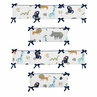 Turquoise and Navy Blue Safari Animal Baby Crib Bumper Pad for Mod Jungle Collection by Sweet Jojo Designs