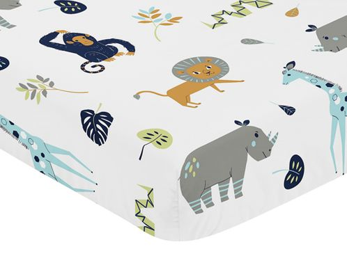 Turquoise and Navy Blue Safari Animal Baby or Toddler Fitted Crib Sheet for Mod Jungle Collection by Sweet Jojo Designs - Click to enlarge