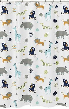Turquoise and Navy Blue Safari Animal Bathroom Fabric Bath Shower Curtain for Mod Jungle Collection by Sweet Jojo Designs