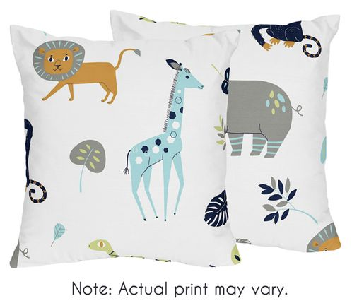 Turquoise and Navy Blue Safari Animal Decorative Accent Throw Pillows for Mod Jungle Collection by Sweet Jojo Designs - Set of 2 - Click to enlarge