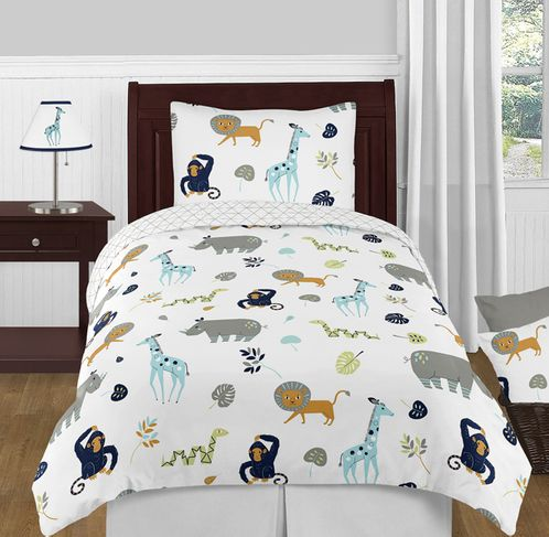 Turquoise and Navy Blue Safari Animal Mod Jungle Boy or Girl Twin Kid Childrens Bedding Comforter Set by Sweet Jojo Designs - 4 pieces - Click to enlarge