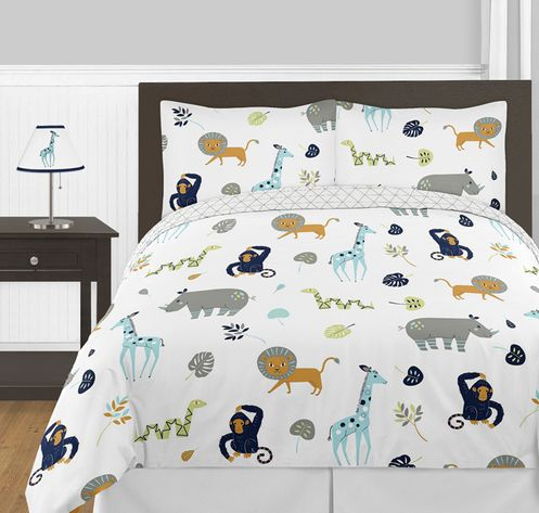Turquoise and Navy Blue Safari Animal Mod Jungle Boy or Girl Full / Queen Kid Childrens Bedding Comforter Set by Sweet Jojo Designs - 3 pieces - Click to enlarge
