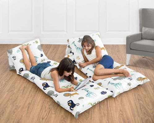 Turquoise and Navy Blue Safari Animal Kids Floor Pillow Case Lounger Cushion Cover for Mod Jungle Collection by Sweet Jojo Designs (Pillows Not Included) - Click to enlarge