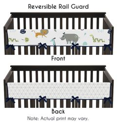 Turquoise and Navy Blue Safari Animal Long Front Crib Rail Guard Baby Teething Cover Protector Wrap for Mod Jungle Collection by Sweet Jojo Designs
