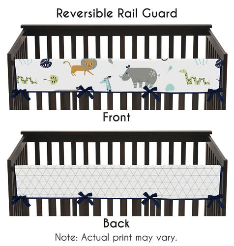 Turquoise and Navy Blue Safari Animal Long Front Crib Rail Guard Baby Teething Cover Protector Wrap for Mod Jungle Collection by Sweet Jojo Designs - Click to enlarge