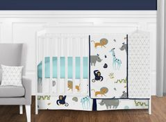 Turquoise and Navy Blue Safari Animal Mod Jungle Baby Boy or Girl Crib Bedding Set without Bumper by Sweet Jojo Designs - 11 pieces