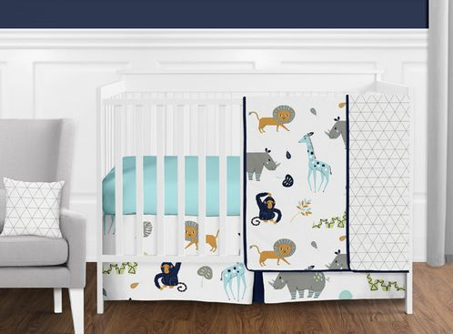 Turquoise and Navy Blue Safari Animal Mod Jungle Baby Boy or Girl Crib Bedding Set without Bumper by Sweet Jojo Designs - 11 pieces - Click to enlarge