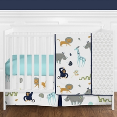 Turquoise and Navy Blue Safari Animal Mod Jungle Baby Boy or Girl Crib Bedding Set without Bumper by Sweet Jojo Designs - 4 pieces