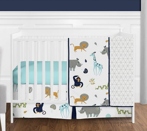 Turquoise and Navy Blue Safari Animal Mod Jungle Baby Boy or Girl Crib Bedding Set without Bumper by Sweet Jojo Designs - 4 pieces - Click to enlarge