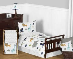 Turquoise and Navy Blue Safari Animal Mod Jungle Boy or Girl Toddler Kid Childrens Bedding Set by Sweet Jojo Designs - 5 pieces Comforter, Sham and Sheets