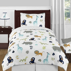 Turquoise and Navy Blue Safari Animal Mod Jungle Boy or Girl Twin Kid Childrens Bedding Comforter Set by Sweet Jojo Designs - 4 pieces