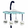 Turquoise and Navy Blue Safari Animal Musical Baby Crib Mobile for Mod Jungle Collection by Sweet Jojo Designs