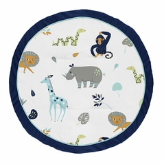 Turquoise and Navy Blue Safari Animal Playmat Tummy Time Baby and Infant Play Mat for Mod Jungle Collection by Sweet Jojo Designs