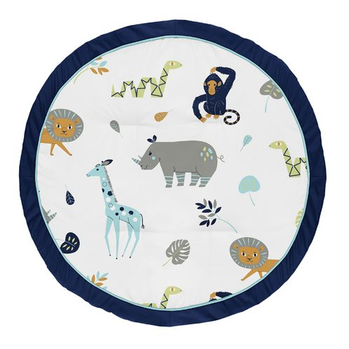 Turquoise and Navy Blue Safari Animal Playmat Tummy Time Baby and Infant Play Mat for Mod Jungle Collection by Sweet Jojo Designs - Click to enlarge
