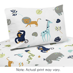Turquoise and Navy Blue Safari Animal Queen Sheet Set for Mod Jungle Collection by Sweet Jojo Designs - 4 piece set