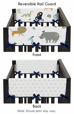 Turquoise and Navy Blue Safari Animal Side Crib Rail Guards Baby Teething Cover Protector Wrap for Mod Jungle Collection by Sweet Jojo Designs - Set of 2