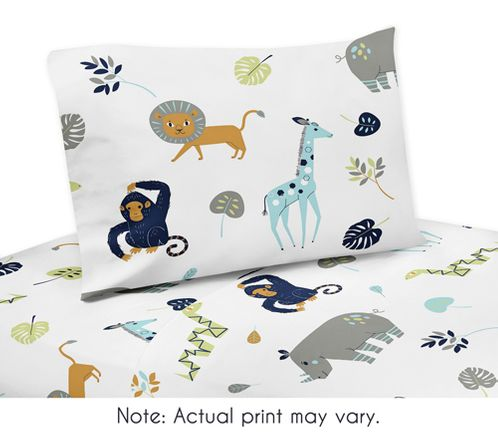Turquoise and Navy Blue Safari Animal Twin Sheet Set for Mod Jungle Collection by Sweet Jojo Designs - 3 piece set - Click to enlarge