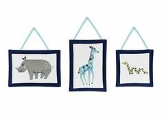 Turquoise and Navy Blue Safari Animal Wall Hanging Decor for Mod Jungle Collection by Sweet Jojo Designs - Set of 3