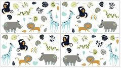 Turquoise and Navy Blue Safari Animal Peel and Stick Wall Decal Stickers Art Nursery Decor for Mod Jungle Collection by Sweet Jojo Designs - Set of 4 Sheets
