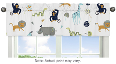 Turquoise and Navy Blue Safari Animal Window Treatment Valance for Mod Jungle Collection by Sweet Jojo Designs