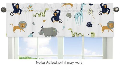 Turquoise and Navy Blue Safari Animal Window Treatment Valance for Mod Jungle Collection by Sweet Jojo Designs - Click to enlarge
