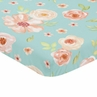 Turquoise and Peach Baby Fitted Mini Portable Crib Sheet for Watercolor Floral Collection by Sweet Jojo Designs - Pink Rose Flower
