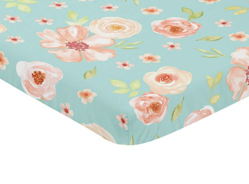 Turquoise and Peach Baby Fitted Mini Portable Crib Sheet for Watercolor Floral Collection by Sweet Jojo Designs - Pink Rose Flower - Click to enlarge