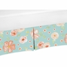 Turquoise and Peach Baby Girl Pleated Crib Bed Skirt Dust Ruffle for Watercolor Floral Collection by Sweet Jojo Designs - Pink Rose Flower