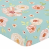 Turquoise and Peach Baby or Toddler Fitted Crib Sheet for Watercolor Floral Collection by Sweet Jojo Designs- Pink Rose Flower