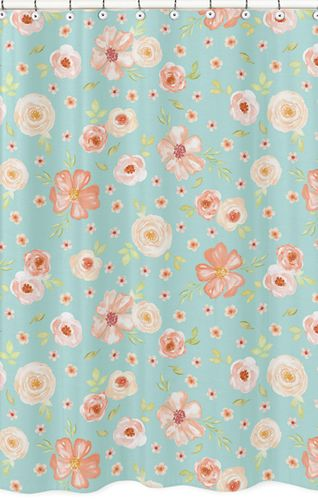 Turquoise and Peach Bathroom Fabric Bath Shower Curtain for Watercolor Floral Collection by Sweet Jojo Designs - Pink Rose Flower - Click to enlarge