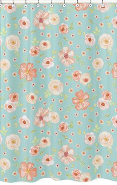 Turquoise and Peach Bathroom Fabric Bath Shower Curtain for Watercolor Floral Collection by Sweet Jojo Designs - Pink Rose Flower