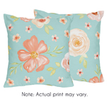 Turquoise and Peach Decorative Accent Throw Pillows for Watercolor Floral Collection by Sweet Jojo Designs - Set of 2 - Pink Rose Flower