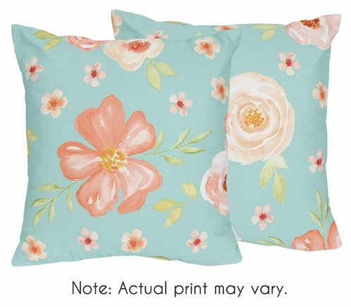 Turquoise And Peach Decorative Accent Throw Pillows For Watercolor Magnificent Peach Decorative Throw Pillows