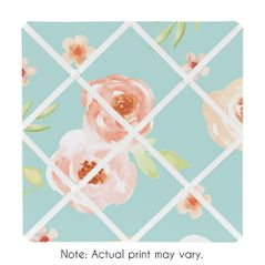 Turquoise and Peach Fabric Memory Memo Photo Bulletin Board for Watercolor Floral Collection by Sweet Jojo Designs - Pink Rose Flower