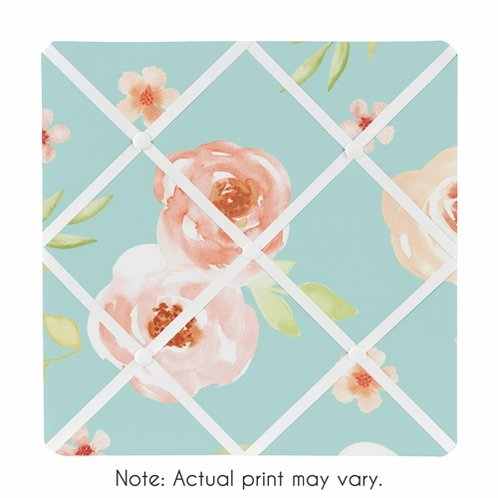 Turquoise and Peach Fabric Memory Memo Photo Bulletin Board for Watercolor Floral Collection by Sweet Jojo Designs - Pink Rose Flower - Click to enlarge