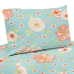 Turquoise and Peach Queen Sheet Set for Watercolor Floral Collection by Sweet Jojo Designs - 4 piece set - Pink Rose Flower