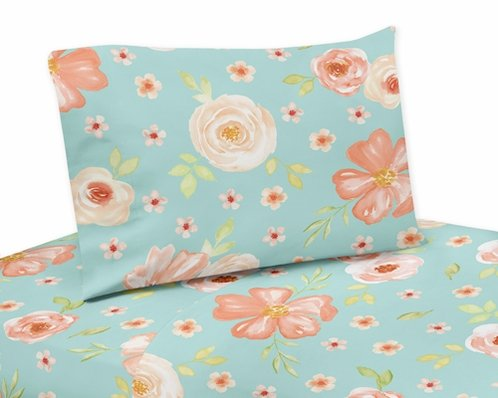 Turquoise and Peach Queen Sheet Set for Watercolor Floral Collection by Sweet Jojo Designs - 4 piece set - Pink Rose Flower - Click to enlarge