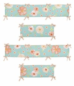 Turquoise and Peach Shabby Chic Baby Crib Bumper Pad for Watercolor Floral Collection by Sweet Jojo Designs - Pink Rose Flower