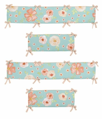 Turquoise and Peach Shabby Chic Baby Crib Bumper Pad for Watercolor Floral Collection by Sweet Jojo Designs - Pink Rose Flower - Click to enlarge
