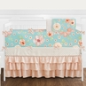 Turquoise and Peach Shabby Chic Watercolor Floral Baby Girl Crib Bedding Set with Bumper by Sweet Jojo Designs - 9 pieces - Pink Rose Flower Polka Dot