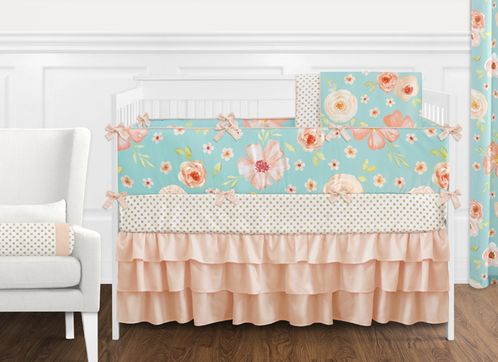 Turquoise and Peach Shabby Chic Watercolor Floral Baby Girl Crib Bedding Set with Bumper by Sweet Jojo Designs - 9 pieces - Pink Rose Flower Polka Dot - Click to enlarge